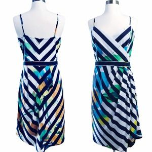 BETH BOWLEY Silk Dress Floral Striped Navy White 4